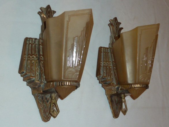MATCHED PAIR ART DECO SLIP SHADE WALL SCONCES - 2