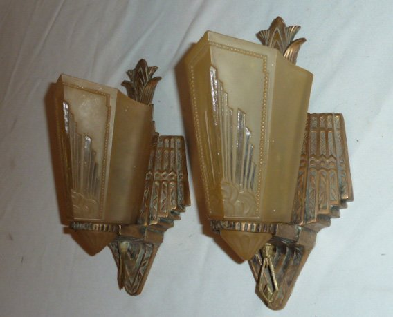 MATCHED PAIR ART DECO SLIP SHADE WALL SCONCES - 3