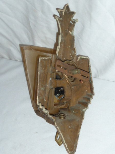 MATCHED PAIR ART DECO SLIP SHADE WALL SCONCES - 4