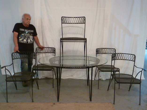 DESIGNER IRON RIBBON CANDY OUTDOOR DINING SET - 5
