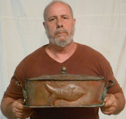 19TH. C. 2 HANDLE LIDDED COPPER POT EMBOSSED FISH