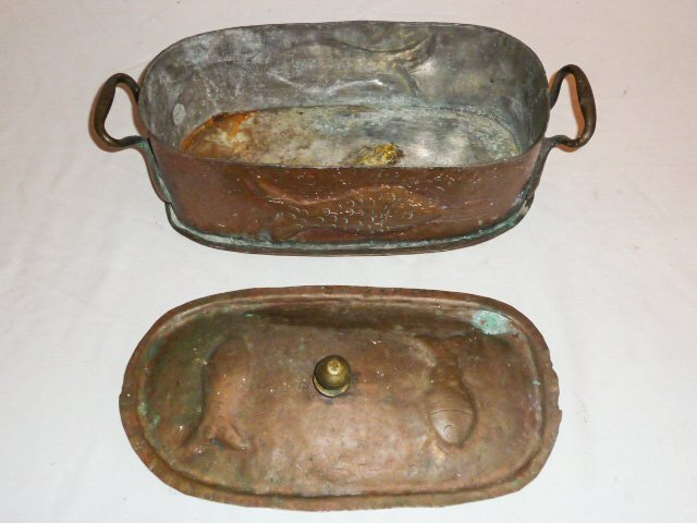19TH. C. 2 HANDLE LIDDED COPPER POT EMBOSSED FISH - 2