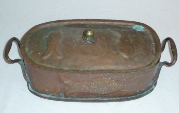 19TH. C. 2 HANDLE LIDDED COPPER POT EMBOSSED FISH - 3