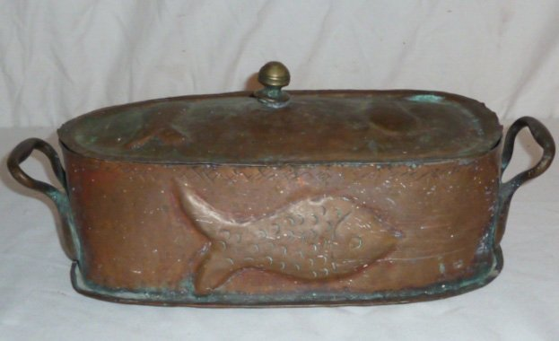 19TH. C. 2 HANDLE LIDDED COPPER POT EMBOSSED FISH - 4