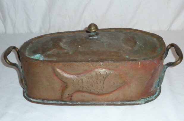 19TH. C. 2 HANDLE LIDDED COPPER POT EMBOSSED FISH - 6
