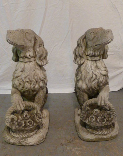 PAIR OF FIGURAL DOGS WITH BASKETS OUTDOOR CEMENT