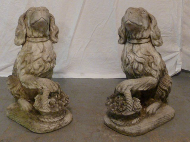 PAIR OF FIGURAL DOGS WITH BASKETS OUTDOOR CEMENT - 2