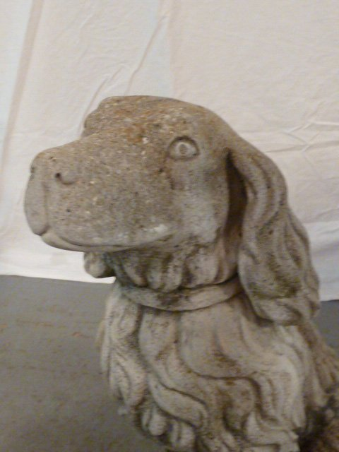 PAIR OF FIGURAL DOGS WITH BASKETS OUTDOOR CEMENT - 3