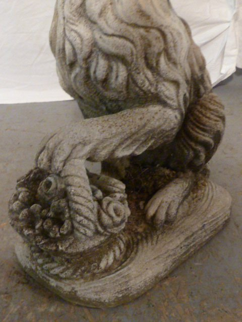 PAIR OF FIGURAL DOGS WITH BASKETS OUTDOOR CEMENT - 4