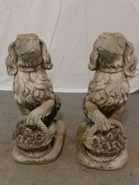 PAIR OF FIGURAL DOGS WITH BASKETS OUTDOOR CEMENT - 5