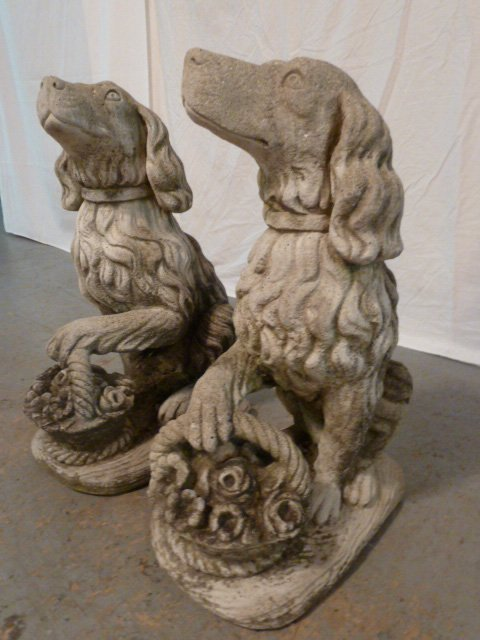 PAIR OF FIGURAL DOGS WITH BASKETS OUTDOOR CEMENT - 7
