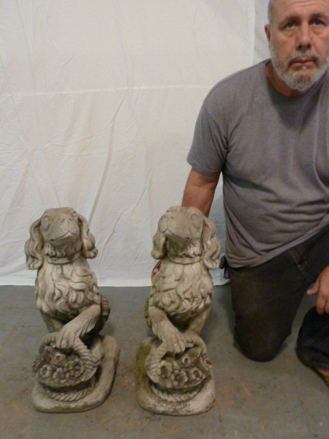PAIR OF FIGURAL DOGS WITH BASKETS OUTDOOR CEMENT - 8