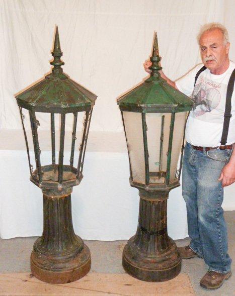 PR. CAST IRON POST LAMPS 3 PART COPPER HOODED