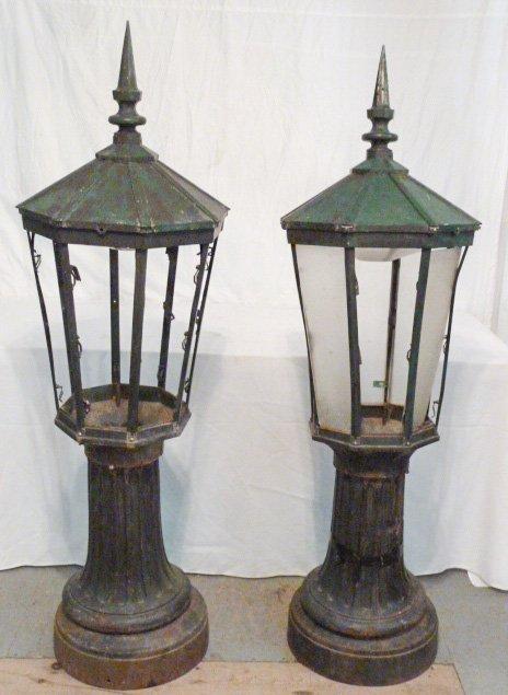 PR. CAST IRON POST LAMPS 3 PART COPPER HOODED - 2