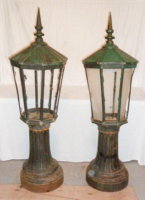 PR. CAST IRON POST LAMPS 3 PART COPPER HOODED - 5