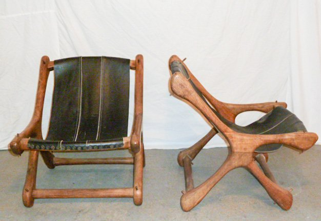 PAIR DON SHOEMAKER WOOD & LEATHER SLOUCHER CHAIRS