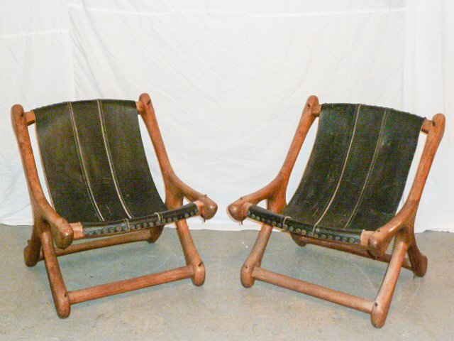 PAIR DON SHOEMAKER WOOD & LEATHER SLOUCHER CHAIRS - 3