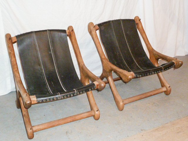 PAIR DON SHOEMAKER WOOD & LEATHER SLOUCHER CHAIRS - 4