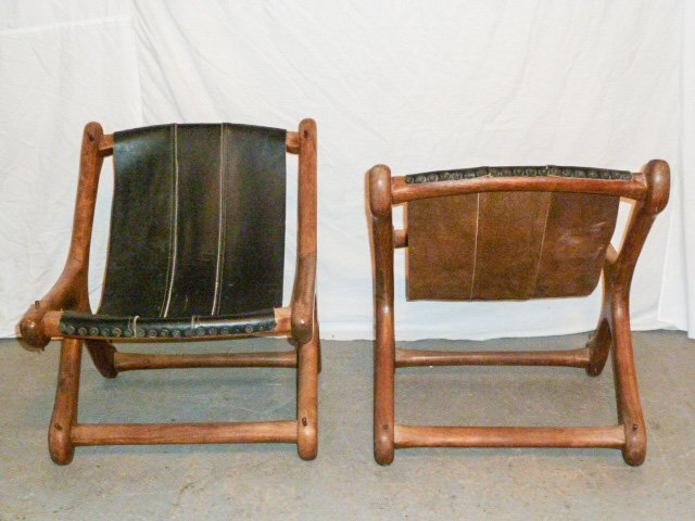 PAIR DON SHOEMAKER WOOD & LEATHER SLOUCHER CHAIRS - 5
