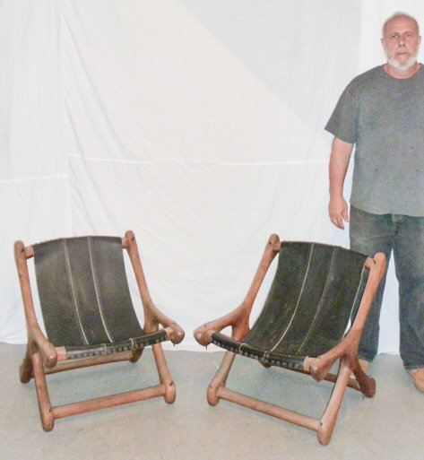 PAIR DON SHOEMAKER WOOD & LEATHER SLOUCHER CHAIRS - 6
