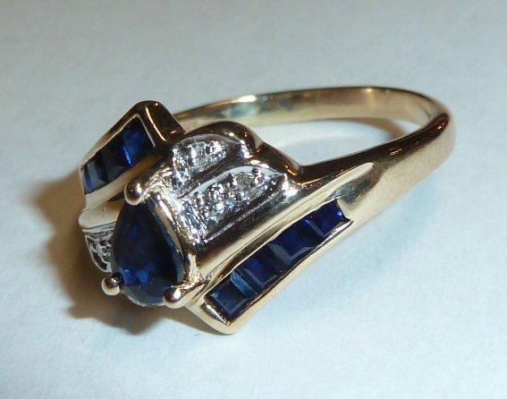 14KT GOLD RING W/ DIAMOND & PEAR SHAPED SAPPHIRE - 2