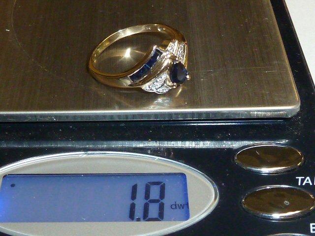 14KT GOLD RING W/ DIAMOND & PEAR SHAPED SAPPHIRE - 3