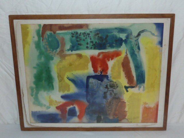 DZUBAS WATERCOLOR SIGNED IN MOMA MATISSE FRAME