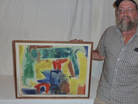 DZUBAS WATERCOLOR SIGNED IN MOMA MATISSE FRAME - 6