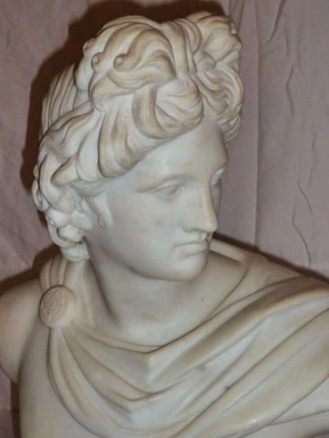 VINTAGE CARVED ROMAN EMPEROR MARBLE BUST