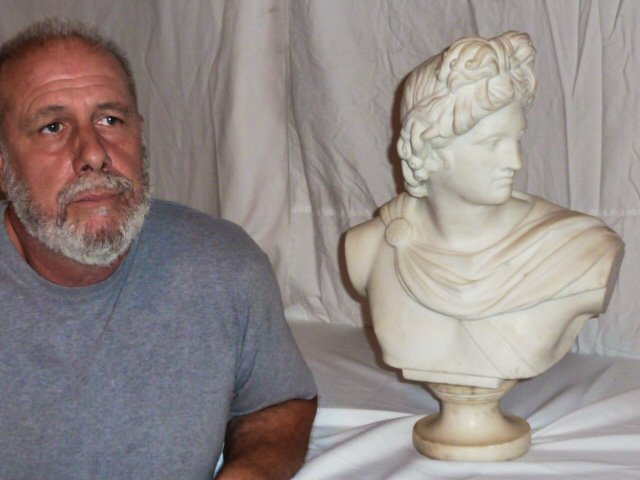 VINTAGE CARVED ROMAN EMPEROR MARBLE BUST - 4