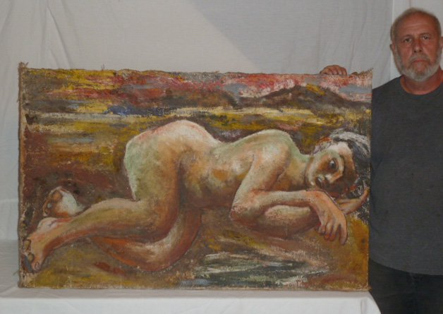 CHAIM SOUTINE ATTRIBUTED PAINTING RECLINING NUDE