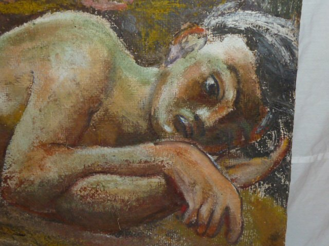 CHAIM SOUTINE ATTRIBUTED PAINTING RECLINING NUDE - 2