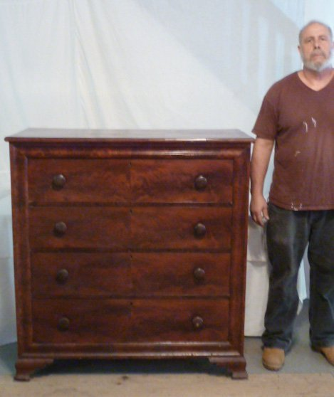 1830'S FLAME MAHOGANY GENTS CHEST BRACKET BASE - 5