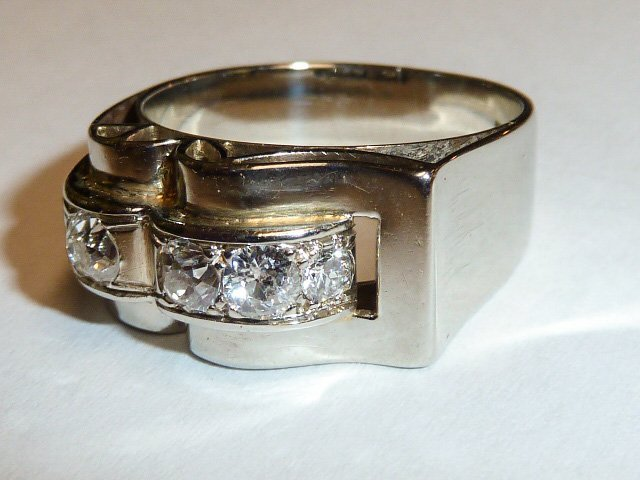 14KT WHITE GOLD RING WITH 4 DIAMONDS UNISEX - 3