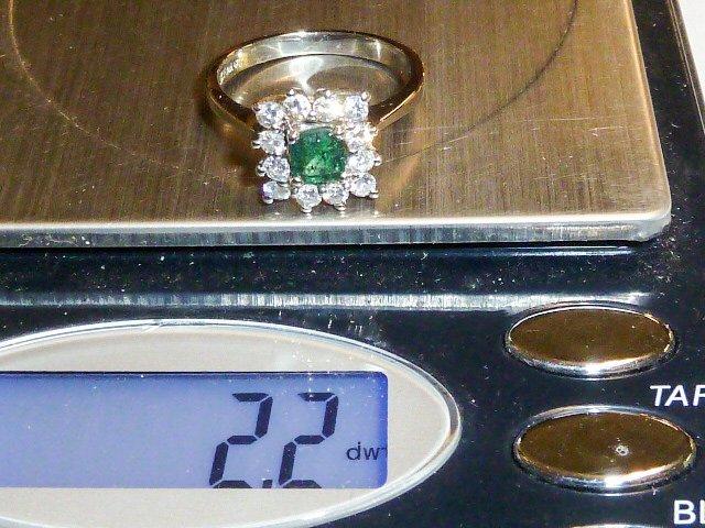 14KT WHITE GOLD RING EMERALD CUT W/12 DIAMONDS - 4