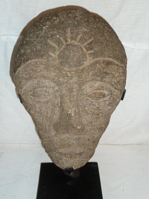 """CARVED STONE """"FACE"""" SCULPTURE - FITTED IRON STAND - 3"""