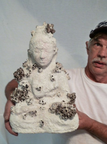 ORIG SCULPTURE SEATED BUDDHA COVERED W/BARNACLES