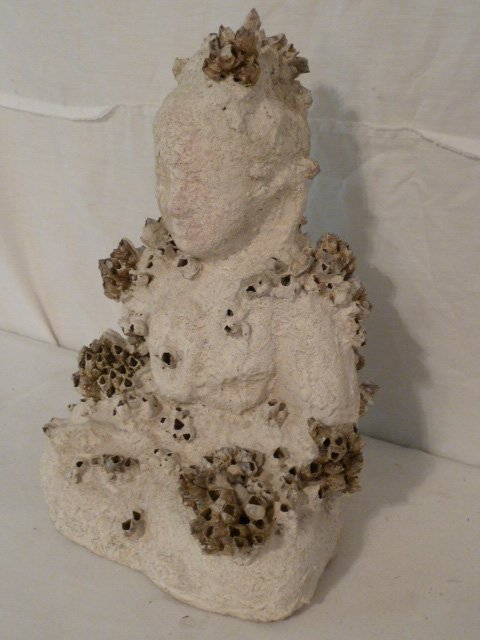 ORIG SCULPTURE SEATED BUDDHA COVERED W/BARNACLES - 4