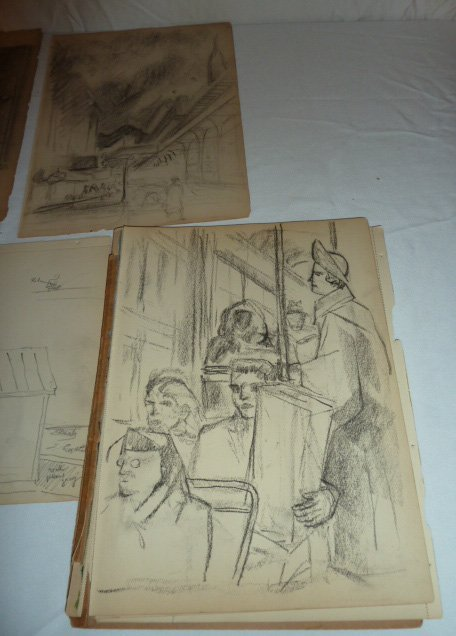 ERNEST FIENE ARTIST SKETCH BOOK ASSORTED DRAWINGS - 6