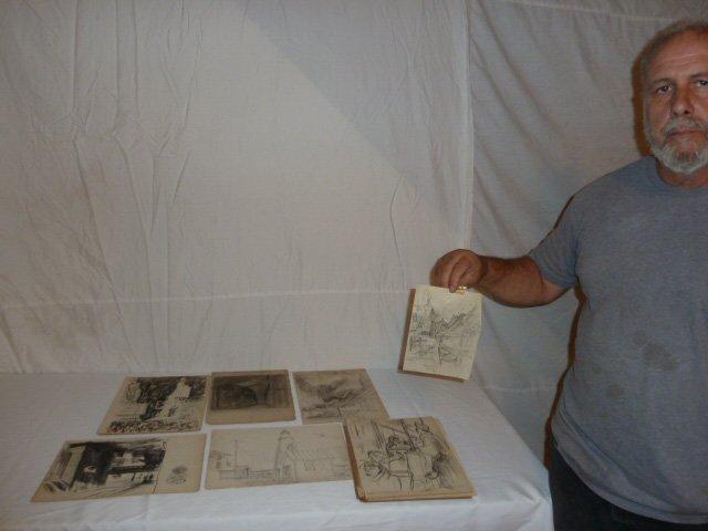 ERNEST FIENE ARTIST SKETCH BOOK ASSORTED DRAWINGS - 8