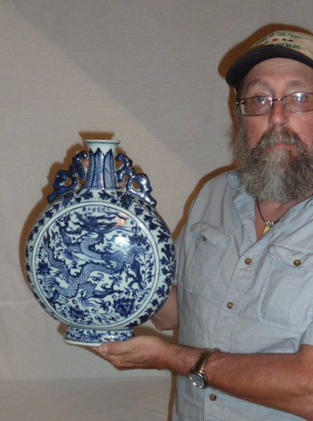 CHINESE BLUE & WHITE VESSEL WITH DRAGON MOTIF