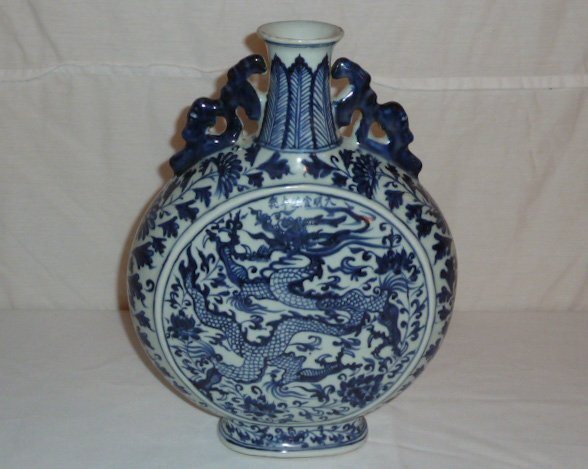 CHINESE BLUE & WHITE VESSEL WITH DRAGON MOTIF - 3