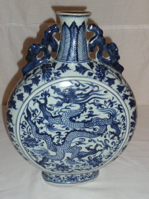 CHINESE BLUE & WHITE VESSEL WITH DRAGON MOTIF - 5