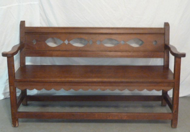 ANTIQUE COUNTRY BENCH CUTOUT BACK PINNED