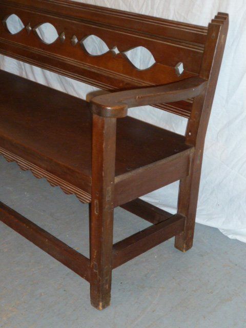 ANTIQUE COUNTRY BENCH CUTOUT BACK PINNED - 2