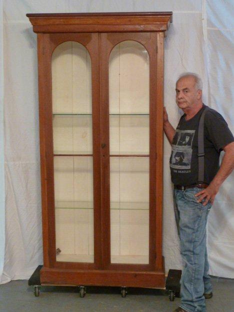 ANTIQUE 2 DOOR WALNUT BOOKCASE GLASS SHELVES