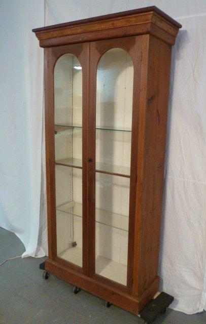 ANTIQUE 2 DOOR WALNUT BOOKCASE GLASS SHELVES - 3