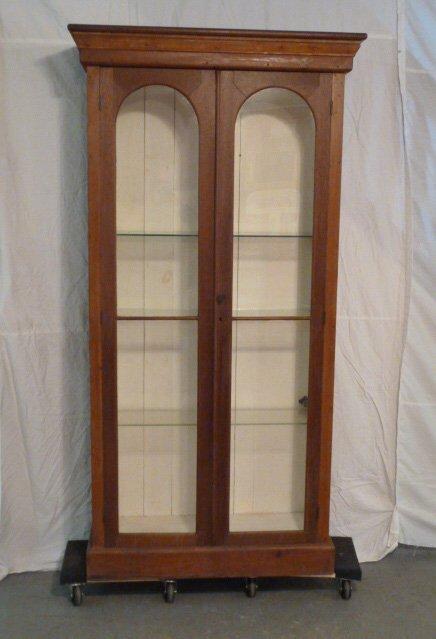 ANTIQUE 2 DOOR WALNUT BOOKCASE GLASS SHELVES - 4