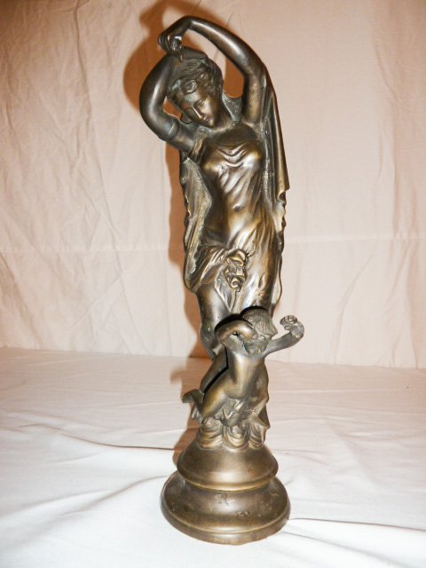 BRONZE FIGURAL GROUP WOMAN WITH ANGEL