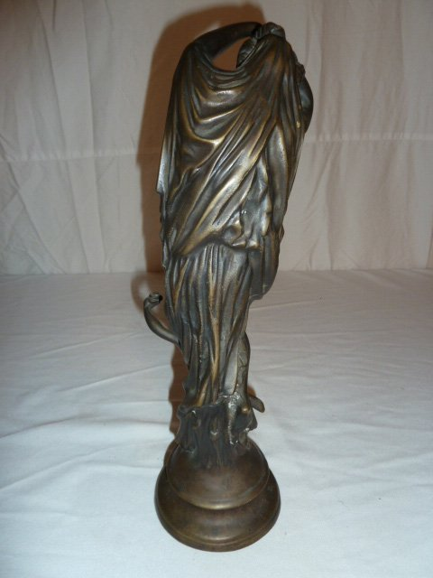 BRONZE FIGURAL GROUP WOMAN WITH ANGEL - 4